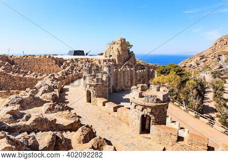 Tourist Destination. Battery De Castillitos In Spain Cartagena, Cabo Tinoso. Fortifications Facade I