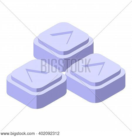 Square Healing Pills Icon. Isometric Of Square Healing Pills Vector Icon For Web Design Isolated On