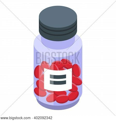 Jar Of Red Capsules Icon. Isometric Of Jar Of Red Capsules Vector Icon For Web Design Isolated On Wh