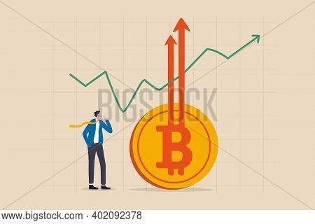 Bitcoin Btc Price Soaring Sky High Hit New High Record Concept, Businessman Investor Look High At Ri