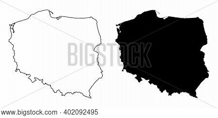 The Poland Black And White Silhouette Maps
