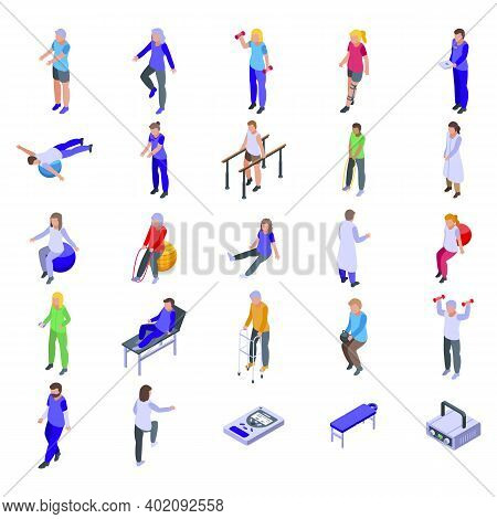 Physical Therapist Icons Set. Isometric Set Of Physical Therapist Vector Icons For Web Design Isolat