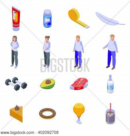 Slimming Icons Set. Isometric Set Of Slimming Vector Icons For Web Design Isolated On White Backgrou