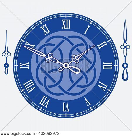 Vintage Watch Dial On Blue Background With Celtic Knot And Arrows.