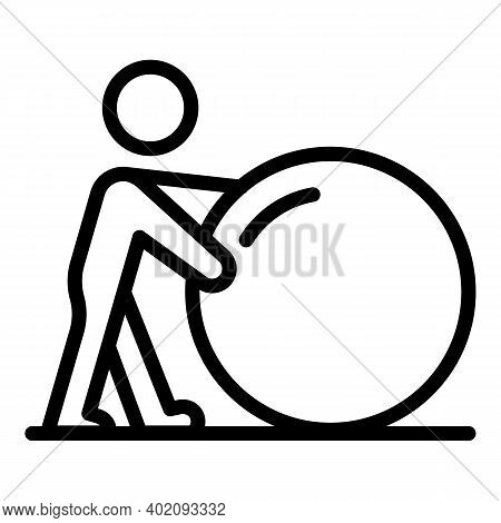 Move Ball Effort Icon. Outline Move Ball Effort Vector Icon For Web Design Isolated On White Backgro