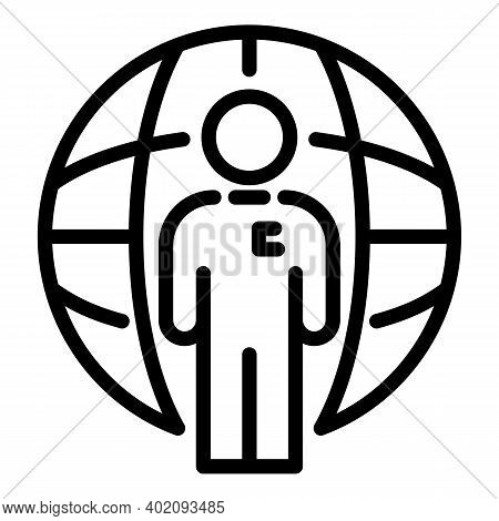 Global Manager Effort Icon. Outline Global Manager Effort Vector Icon For Web Design Isolated On Whi
