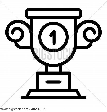 First Place Cup Effort Icon. Outline First Place Cup Effort Vector Icon For Web Design Isolated On W