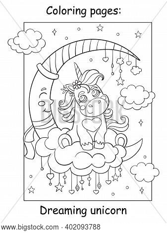 Cute Baby Unicorn Sitting On Moon In The Night Sky. Coloring Book Page. Vector Cartoon Illustration