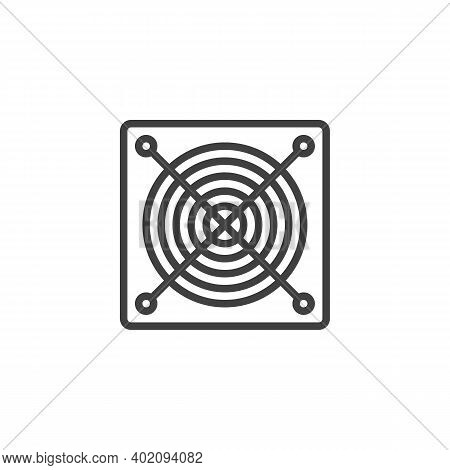 Power Supply Unit Line Icon. Linear Style Sign For Mobile Concept And Web Design. Power Supply Outli