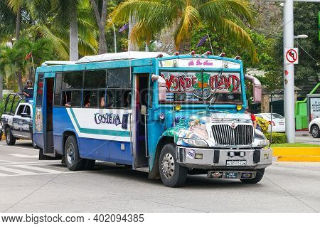 Acapulco, Mexico - May 30, 2017: Customized Urban Bus International 3300 In The City Street.