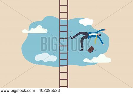 Business Failure, Aim Too High And Accident Fall From Ladder Of Success, Career Or Job Position Demo