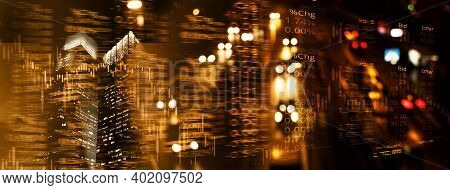 Index Number Graph Line Of Trade Stock Market And Index Number On Golden Glow Blur City Light Welth
