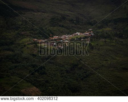 Panoramic View Of Traditional Andean Village Town Of Cocachimba At Catarata Del Gocta Waterfall In A