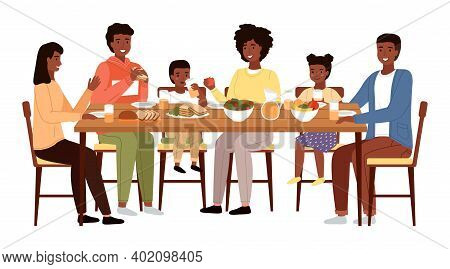 The Family Dines With Healthy Natural Food. Relatives Are Communicating At The Dinner Table. Afro Am