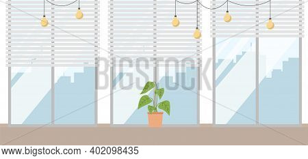 Houseplant On The Window Isolated On White. Simple Flat Style, In Soft Colors Vector Illustration. P