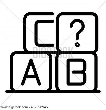 Abc Cubes Icon. Outline Abc Cubes Vector Icon For Web Design Isolated On White Background