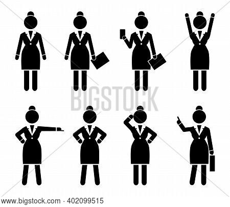Set Of Business Woman Black Silhouettes Icons Of Different Girls. Women In Action. Lady Dressed Form