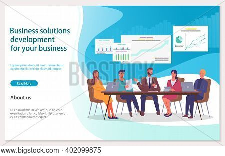 Business Solitions Development For Company Webpage Template. Success Way And Creative Innovations. T