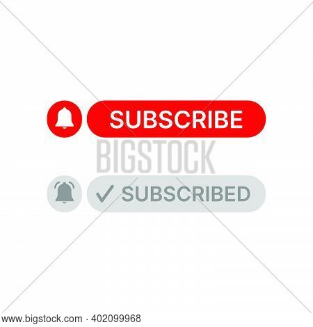 Social Media Button Subscribe And Notification On White Background. Flat Element Design With Vector