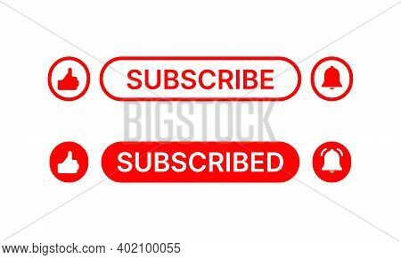 Social Media Button Like, Subscribe And Notification On White Background. Flat Element Design With V
