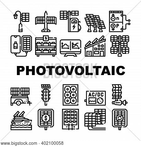 Photovoltaic Energy Collection Icons Set Vector Illustrations