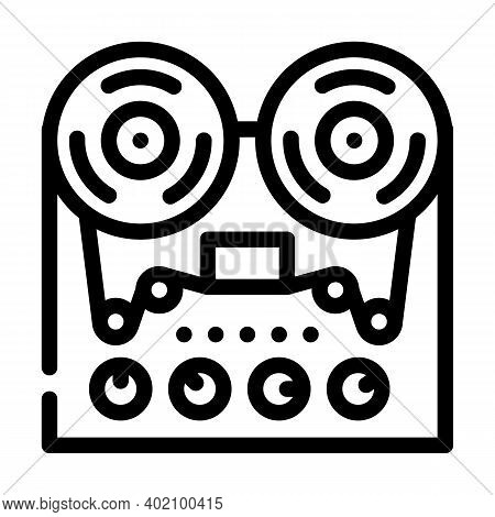Reel-to-reel Tape Player Line Icon Vector Illustration