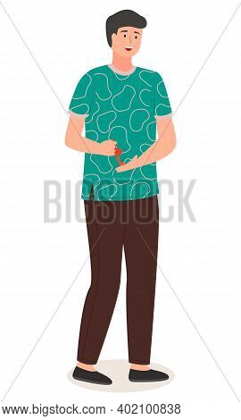 Young Handsome Man In Casual Clothes Stands At Full Height, Holding A Chinese Souvenir In His Hands,