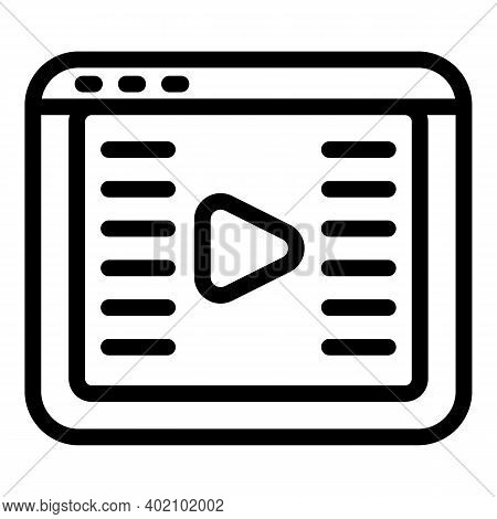 Online Video Clip Icon. Outline Online Video Clip Vector Icon For Web Design Isolated On White Backg