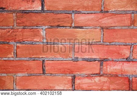 Grunge Brick In The Wall With Gray Putty. Red Brick Screen Saver. Empty Brick Wall. Hand Made Brick