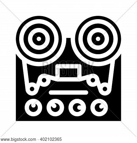 Reel-to-reel Tape Player Glyph Icon Vector Illustration