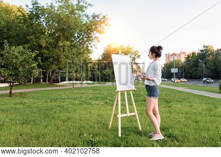 Free Copy Text. Woman Paints Picture Landscape, Summer In City Road, Girl Artist, White Shirt, Creat