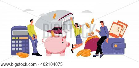 Saving Money And Lending Financial Services Banner Backdrop With Business People Saving Money In Pig