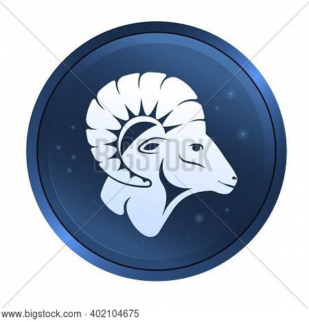 A Ram Head Profile With A Large Horn Button. Side View. Aries Zodiac Astrology Symbol Of The Sheep.