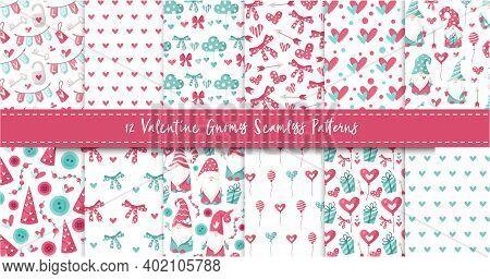 Valentine Gnome Seamless Pattern Bundle - Cartoon Valentine Day Gnomes, Hearts, Ballon, Bow, Cloud,