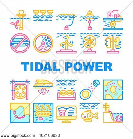 Tidal Power Plant Collection Icons Set Vector