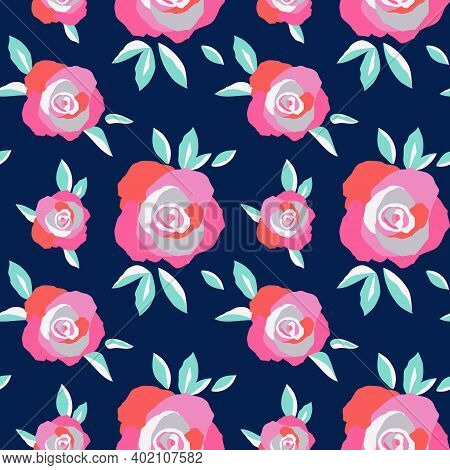Exuberant Bold Roses Flowering Seamless Vector Pattern. Hand Painted Rose Flowers Decorative Backgro