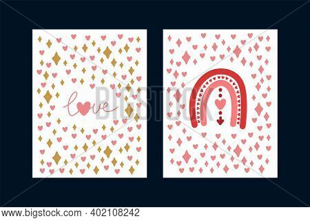 A Set Of Love Cards. Cute Posters With Pink Elements And The Inscription Love. Twinkling Golden Star