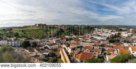Castro Marim, Portugal - 5 January, 2020: The Picturesque Village Of Castro Marim And Castle Behind