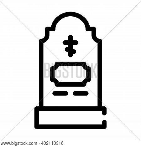 Grave Headstone Line Icon Vector Illustration Black