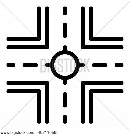 City Crossroad Icon. Outline City Crossroad Vector Icon For Web Design Isolated On White Background