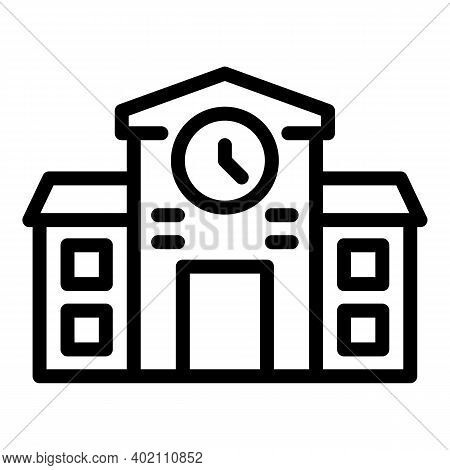 Cathedral Building Icon. Outline Cathedral Building Vector Icon For Web Design Isolated On White Bac