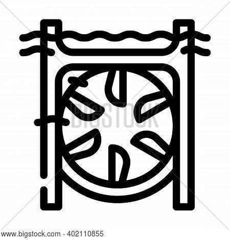 Submarine Tidal Power Plant Line Icon Vector Illustration