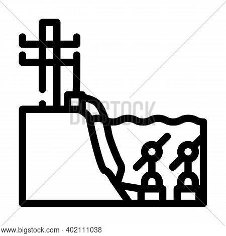 Scheme Of Work Tidal Power Plant Line Icon Vector Illustration