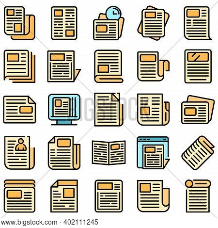 Newspaper Icons Set. Outline Set Of Newspaper Vector Icons Thin Line Color Flat On White