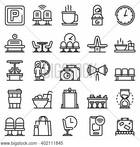 Waiting Area Icons Set. Outline Set Of Waiting Area Vector Icons For Web Design Isolated On White Ba