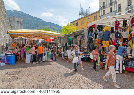 Como, Italy - June 15, 2019: People Shopping At Open Street Market Saturday In Como, Italy.