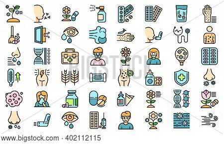 Seasonal Allergy Icons Set. Outline Set Of Seasonal Allergy Vector Icons Thin Line Color Flat On Whi