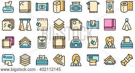 Handkerchief Icons Set. Outline Set Of Handkerchief Vector Icons Thin Line Color Flat On White