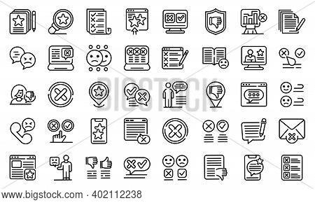 Dislike Icons Set. Outline Set Of Dislike Vector Icons For Web Design Isolated On White Background
