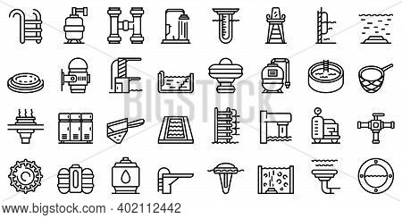Equipment For Pool Icons Set. Outline Set Of Equipment For Pool Vector Icons For Web Design Isolated